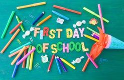 Υπόβαθρο για την πρώτη ημέρα του σχολείου Στοκ Φωτογραφίες