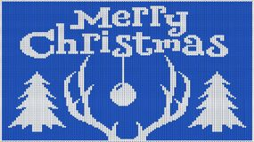 Υπόβαθρο για τη νέα διάθεση έτους Χριστούγεννα εύθυμα Πλεκτή εικόνα πουλόβερ Κέρατα ελαφιών και ενός χριστουγεννιάτικου δέντρου Δ ελεύθερη απεικόνιση δικαιώματος