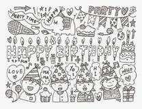 Υπόβαθρο γιορτής γενεθλίων Doodle Στοκ Εικόνες