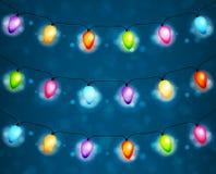 Υπόβαθρο γιρλαντών λαμπών φωτός Χριστουγέννων Στοκ Εικόνα