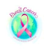 Υπόβαθρο γυναικών συνειδητοποίησης κορδελλών και κόσμων καρκίνου του μαστού ελεύθερη απεικόνιση δικαιώματος