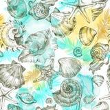 Υπόβαθρο διακοπών θερινού κόμματος, απεικόνιση watercolor Άνευ ραφής σχέδιο με τα κοχύλια θάλασσας, τα μαλάκια και τα φύλλα φοινι Στοκ Εικόνες