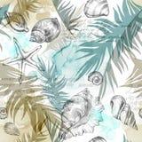 Υπόβαθρο διακοπών θερινού κόμματος, απεικόνιση watercolor Άνευ ραφής σχέδιο με τα κοχύλια θάλασσας, τα μαλάκια και τα φύλλα φοινι Στοκ Φωτογραφία