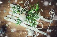 Υπόβαθρο διακοπών με τη σύνθεση Χριστουγέννων Στοκ Εικόνες