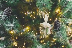 Υπόβαθρο διακοπών χριστουγεννιάτικων δέντρων, κινηματογράφηση σε πρώτο πλάνο Στοκ Εικόνες