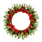 Υπόβαθρο διακοσμήσεων Χριστουγέννων με τα χρυσά αστέρια και το poinsetta Στοκ φωτογραφίες με δικαίωμα ελεύθερης χρήσης