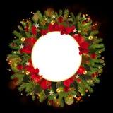 Υπόβαθρο διακοσμήσεων Χριστουγέννων με τα χρυσά αστέρια και το poinsetta Στοκ φωτογραφία με δικαίωμα ελεύθερης χρήσης