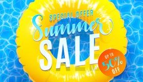 Υπόβαθρο εμβλημάτων θερινής πώλησης με την μπλε σύσταση νερού και το κίτρινο επιπλέον σώμα λιμνών Διανυσματική απεικόνιση της προ απεικόνιση αποθεμάτων