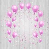 Υπόβαθρο εορτασμού με τα ρόδινα μπαλόνια και το κομφετί διανυσματική απεικόνιση