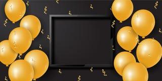 Υπόβαθρο εορτασμού με τα τρισδιάστατα χρυσά μπαλόνια και το ελικοειδές και κενό διάστημα διάνυσμα απεικόνιση αποθεμάτων