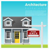 Υπόβαθρο επένδυσης ακίνητων περιουσιών με το σπίτι για την πώληση ελεύθερη απεικόνιση δικαιώματος