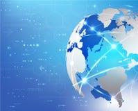 Υπόβαθρο επικοινωνίας και τεχνολογίας παγκόσμιων δικτύων, απεικόνιση Στοκ Εικόνες