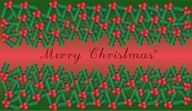 Υπόβαθρο ευτυχών Χριστουγέννων με έναν κλάδο του ilex με τα μούρα και τα φύλλα διανυσματική απεικόνιση