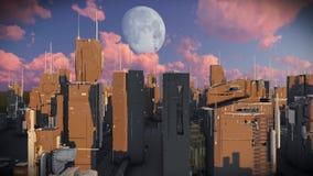 Υπόβαθρο ζωτικότητας γραφικής παράστασης κινήσεων πόλεων του Sci Fi φιλμ μικρού μήκους