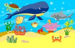 Υπόβαθρο ζώων θάλασσας διανυσματική απεικόνιση