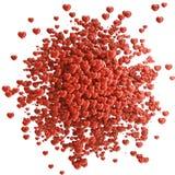 Υπόβαθρο ημέρας βαλεντίνου από τις μικρές κόκκινες καρδιές μεταλλοφόρων κοιτασμάτων στοκ εικόνα με δικαίωμα ελεύθερης χρήσης