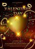 Υπόβαθρο ημέρας βαλεντίνων με τη χρυσή καρδιά, απεικόνιση αποθεμάτων