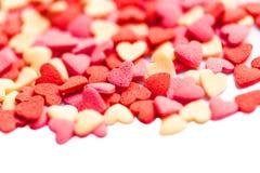 Υπόβαθρο ημέρας βαλεντίνων με τις καρδιές στο λευκό με το copyspace Τ Στοκ Εικόνες