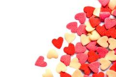 Υπόβαθρο ημέρας βαλεντίνων με τις καρδιές στο λευκό με το copyspace Τ Στοκ Φωτογραφίες
