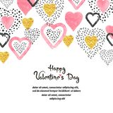 Υπόβαθρο ημέρας βαλεντίνων με τις ρόδινες καρδιές και θέση για το κείμενο διανυσματική απεικόνιση