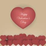 Υπόβαθρο ημέρας βαλεντίνου με τις κόκκινες καρδιές εγγράφου origami Στοκ Εικόνες