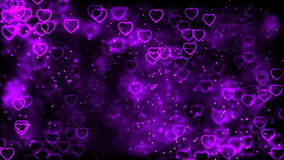 Υπόβαθρο ημέρας βαλεντίνου, πετώντας αφηρημένα καρδιές και μόρια φιλμ μικρού μήκους