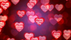 Υπόβαθρο ημέρας βαλεντίνων ` s, πετώντας αφηρημένα καρδιές και μόρια απεικόνιση αποθεμάτων