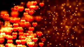 Υπόβαθρο ημέρας βαλεντίνων ` s, πετώντας αφηρημένα καρδιές και μόρια ελεύθερη απεικόνιση δικαιώματος