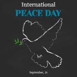 Υπόβαθρο ημέρας ειρήνης με το περιστέρι στον πίνακα στο ύφος κινούμενων σχεδίων Διανυσματική απεικόνιση για σας σχέδιο, κάρτα, έμ Στοκ εικόνα με δικαίωμα ελεύθερης χρήσης