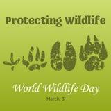 Υπόβαθρο ημέρας παγκόσμιας άγριας φύσης με με τις διαδρομές ζώων Διανυσματική απεικόνιση για σας σχέδιο, κάρτα, έμβλημα, αφίσα Στοκ Εικόνες