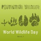 Υπόβαθρο ημέρας παγκόσμιας άγριας φύσης με με τις διαδρομές ζώων Διανυσματική απεικόνιση για σας σχέδιο, κάρτα, έμβλημα, αφίσα Στοκ Εικόνα