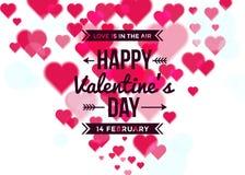 Υπόβαθρο ημέρας του ευτυχούς βαλεντίνου με τις καρδιές θαμπάδων διανυσματική απεικόνιση