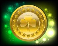 Υπόβαθρο ημέρας του Πάτρικ ` s/χρυσό νόμισμα με το τριφύλλι Στοκ φωτογραφίες με δικαίωμα ελεύθερης χρήσης