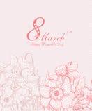 Υπόβαθρο ημέρας των ευτυχών γυναικών με τα λουλούδια άνοιξη 8 Μαρτίου Στοκ Φωτογραφία