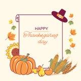 Υπόβαθρο ημέρας των ευχαριστιών με την εποχιακή διακόσμηση και κείμενο pap Διανυσματική απεικόνιση