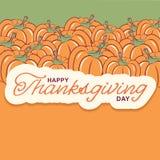 Υπόβαθρο ημέρας των ευχαριστιών με την εποχιακή διακόσμηση κολοκυθών και te Ελεύθερη απεικόνιση δικαιώματος