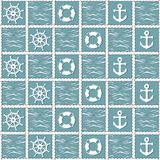 Υπόβαθρο θάλασσας με τα σύμβολα σκαφών Στοκ εικόνα με δικαίωμα ελεύθερης χρήσης