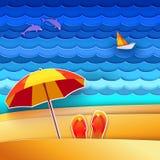 Υπόβαθρο θάλασσας και παραλιών απεικόνιση αποθεμάτων