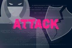 Υπόβαθρο θέματος επίθεσης χάκερ Στοκ Εικόνες