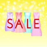 Υπόβαθρο θερινής πώλησης με το ζωηρό φόρεμα κομμάτων Διανυσματικό υπόβαθρο για το έμβλημα, αφίσα, ιπτάμενο, κάρτα, κάρτα, κάλυψη απεικόνιση αποθεμάτων