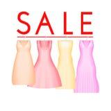 Υπόβαθρο θερινής πώλησης με το ζωηρό φόρεμα κομμάτων Διανυσματικό υπόβαθρο για το έμβλημα, αφίσα, ιπτάμενο, κάρτα, κάρτα, κάλυψη ελεύθερη απεικόνιση δικαιώματος