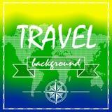 Υπόβαθρο θερινού ταξιδιού με τον παγκόσμιο χάρτη Στοκ Εικόνες