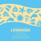 Υπόβαθρο θερινών διακοπών - σχέδιο αφισών ζωής θάλασσας ελεύθερη απεικόνιση δικαιώματος