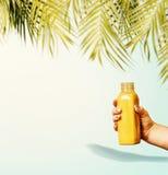 Υπόβαθρο θερινών ποτών με τα τροπικά φύλλα παλαμών και κίτρινο μπουκάλι ποτών στο θηλυκό χέρι στο μπλε υπόβαθρο κρητιδογραφιών στοκ εικόνες