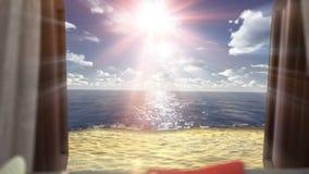Υπόβαθρο διακοπών έννοιας με το ανοικτό παράθυρο και την ωκεάνια παραλία διανυσματική απεικόνιση
