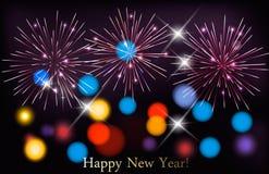 Υπόβαθρο διακοπών με τα ζωηρόχρωμα πυροτεχνήματα καλή χρονιά διανυσματική απεικόνιση