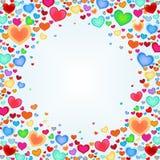 Υπόβαθρο διακοπών με τις καρδιές χρώματος Διανυσματική ανασκόπηση Στοκ Φωτογραφίες