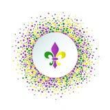 Υπόβαθρο διακοπών της Mardi Gras Γύρω από διαστιγμένο πλαίσιο με ζωηρόχρωμο fleur de lis διανυσματική απεικόνιση