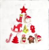 Υπόβαθρο διακοπών τσαντών δώρων διακοσμήσεων χριστουγεννιάτικων δέντρων στοκ εικόνα