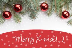 Υπόβαθρο διακοσμήσεων Χριστουγέννων με τα εύθυμα Χριστούγεννα μηνυμάτων `! : ` Στοκ Εικόνες
